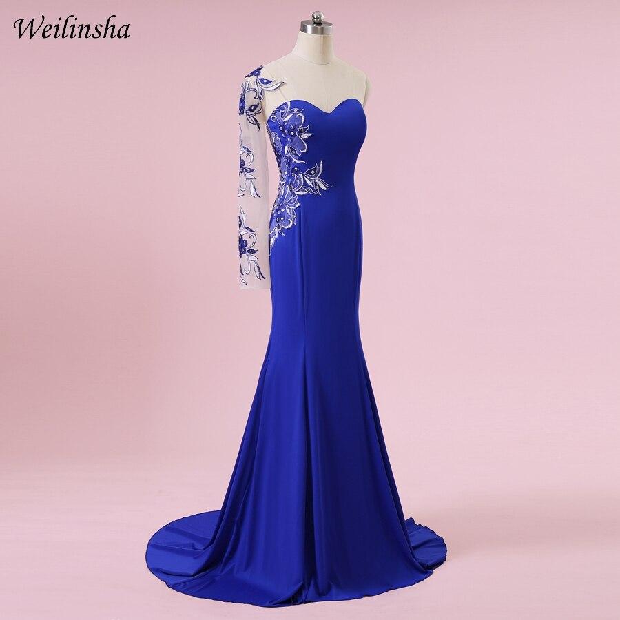 Weilinsha Plus Size Mermaid Kjole En Skulder Royal Blue Sexy Broderi - Spesielle anledninger kjoler - Bilde 4