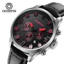 Новинка 2017 года часы Для мужчин бренд ochstin Спорт Для мужчин, часы с кожаным ремешком, кварцевые Водонепроницаемый есть Хронограф Военная Униформа армии Мода