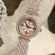 Top Luxury Diamond Women Watches Fashion Rose Gold Ladies Watch Rhinestone Crystal Quartz Dress Clock reloj mujer