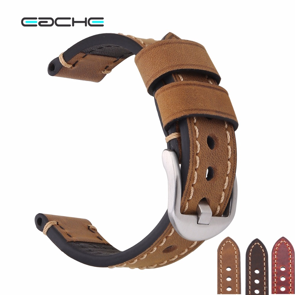 EACHE Handmade Genuine Leather Watchband Watch Straps 18mm 20mm With Silver&Black Buckles eache 20mm 22mm 24mm 26mm genuine leather watch band crazy horse leather strap for p watch hand made with black buckles