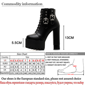 Image 5 - Gdgydh Women Lacing High Heel Ankle Boots Platform Female Boots Shoes Buckle Round Toe Ladies Party Shoes Rubber Sole Promotion