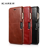 ICarer For IPhone 7 Case Luxury Brand Accessories Retro Genuine Leather Hard Plastic Flip Phone Case