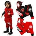 3-7 t otoño spider man spiderman niños ropa set boys juegos de los deportes ropa set sudadera con capucha de la chaqueta + pantalones niños spiderman traje