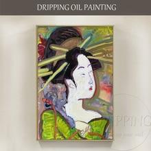 Unique Design Artist Hand-painted Impressionist Figure Japan Woman Oil Painting High Quality