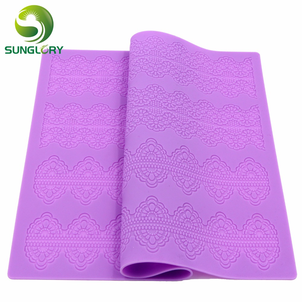 DIY Baking Lace Mat Fondant Silicone Lace Mat Molde Rendas de Acucar Sugar Craft Lace Moulds For Cake Decorating Pate a Sucre