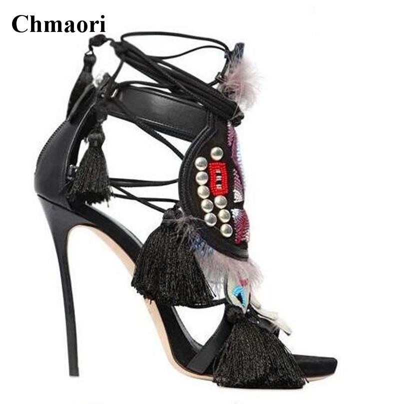 Women Charming Printed Lace up Tassels High Heel Embroidery Sandals Black Brown Spike Fringed Gladiator Sandals Dress Shoes