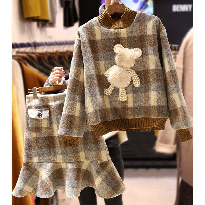 Hanche Épais brown Plaid Occasionnel Jupe Sweats Mode Nouveau Femelle Costumes Queue 2018 Coffee Femmes Printemps De Mince Ensembles Laine Poisson Pulls xnAPnYqwF