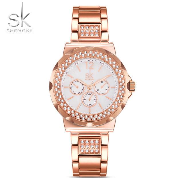 a4105b048b9 SK Moda Pulseira Relógios das Mulheres Strass Caso Shell Superfície Senhoras  Relógio Rosa de Ouro Pulseira De Aço Inoxidável 2017 Nova em Pulseira  Relógios ...