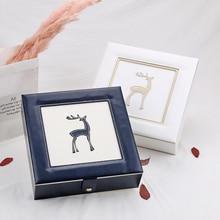 2019 جديد الموضة جلدية صندوق مجوهرات خشبي أنيق صندوق للمجوهرات التعبئة والتغليف عرض كبير رائعة حقيبة مستحضرات تجميل فاخرة مجوهرات المنظم