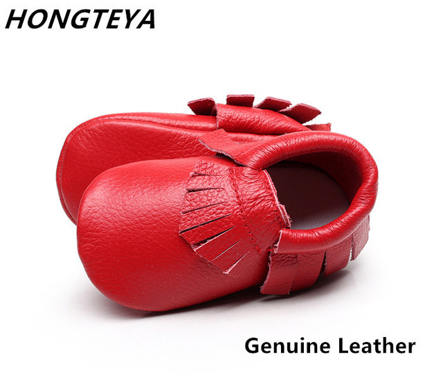 Hot sale Genuine Leather Fringe Baby Moccasins Soft sole baby girls shoes infant Newborn boys first walker footware for 0-24M