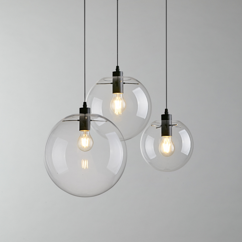 Nordic Industrial clear and Glass Ball Pendant Lamp Restaurant Bar Cafe Hanging Lamp Ceiling Ligh Hall Club Store colorful glass bowknot led corridor loft bedroom bar ceiling light lamp droplight cafe bar hall store restaurant decor