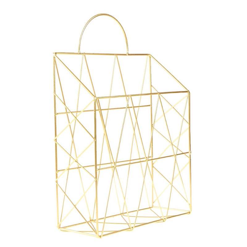 Скандинавские простые железные настольные книги журналы газет корзина для хранения портативный многофункциональный мусор подвесной стеллаж органайзер - Цвет: Золото