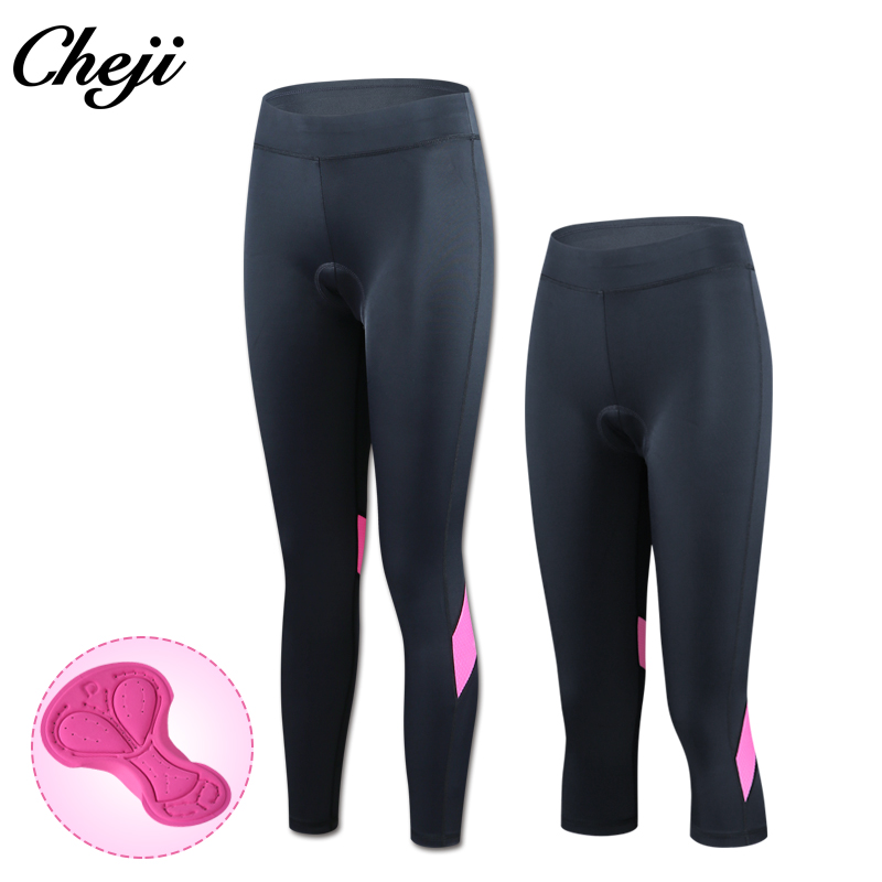 CHEJI New Arrival Summer Mtb Road Bike 3/4 Pants Women Pink Sport Bycycle Tights Gel Padded Cycling Pants Female Culote Ciclismo