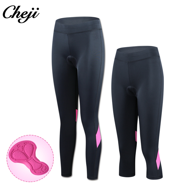 d02939b2d10 CHEJI New Arrival Summer Mtb Road Bike 3 4 Pants Women Pink Sport Bycycle  Tights Gel Padded Cycling Pants Female Culote Ciclismo