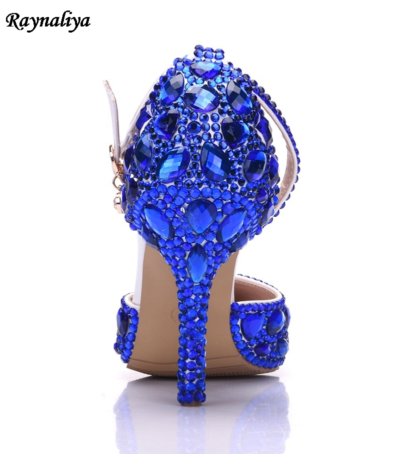 Lady High Heels Sandals Wedding Shoes Diamond Blue Crystal Shoes Woman  Wedding Photo Studio Wedding Dress Shoes XY A0017-in Women s Pumps from  Shoes on ... 582592ab9f88