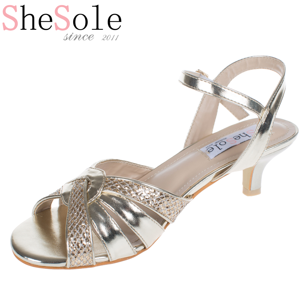 ShoSole brand silver low heel wedding shoes kitten heels sandals gold dress  party shoes strappy rhinestone prom sandals-in Women s Sandals from Shoes  on ... dc39fbcb2e45