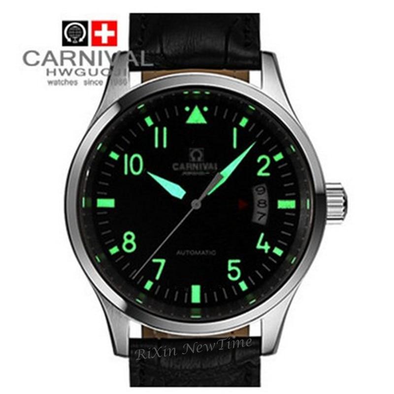 Светящиеся водонепроницаемые военные спортивные автоматические механические часы, полностью стальные часы с кожаным ремешком, модные пов