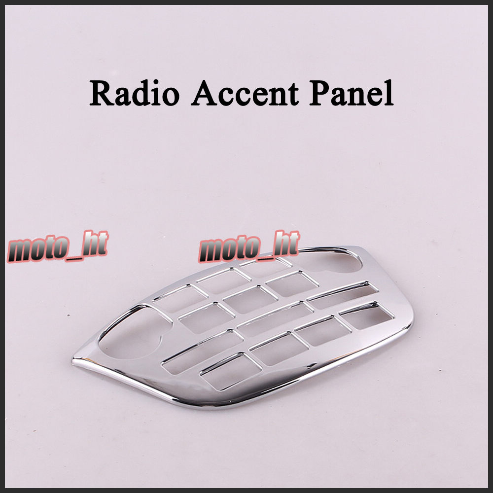For Honda 2001-2011 GL1800 Goldwing Radio Accent Panel Plastic Chrome High Quality Motorcycle Parts new chrome motorcycle rear passenger armrests for honda goldwing gl1800 2001 2017 16 15 14 13 12 11 10 09 08 07 06 05 04 03 02