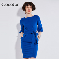 Clocolor Bodycon Dresses For Woman 2017 Solid Blue Dresses Women Autumn Spring Loose O Neck Work