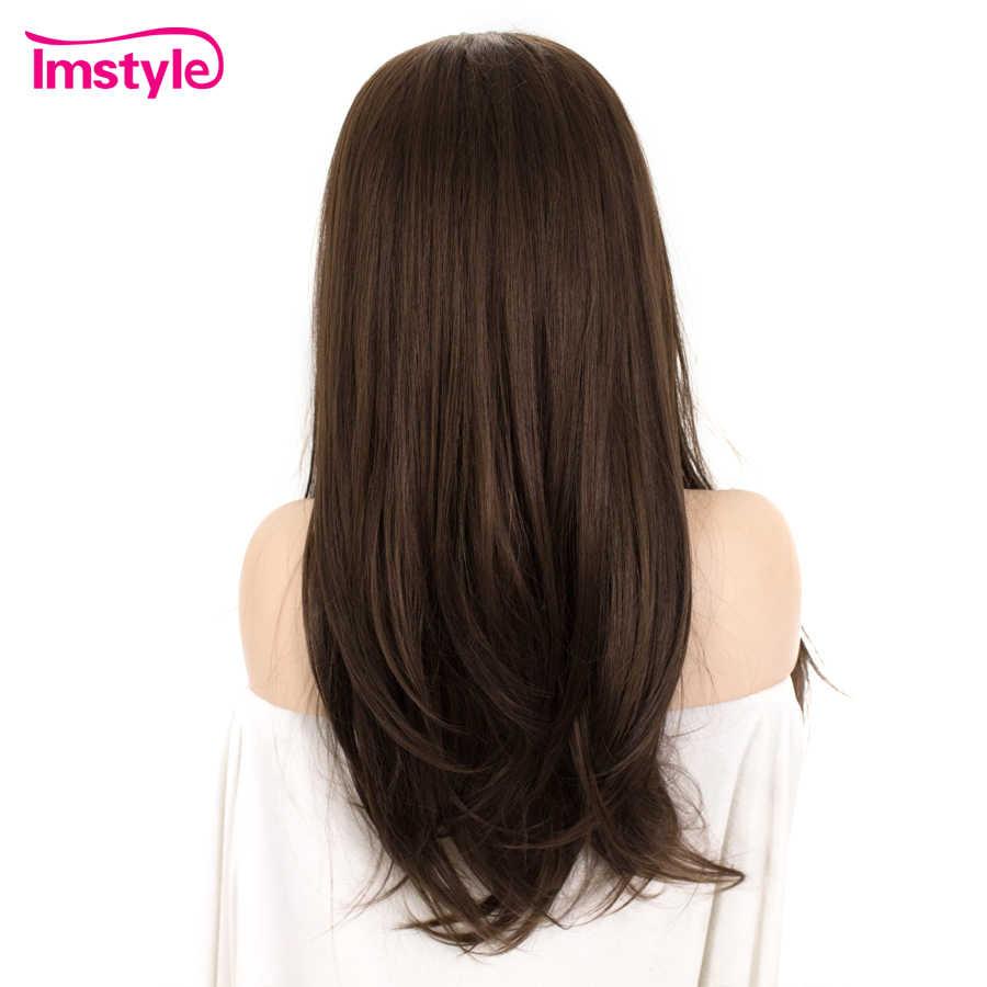 Imstyle темно-коричневый парик из синтетических волос Синтетические волосы на кружеве парик парики с прямыми волосами для Для женщин жаропрочных Косплэй парик