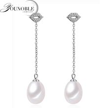 Bohemia Pearl Earrings 925 Silver Jewelry,Mouth Natural Freshwater Earring for Women,Trendy Wedding Girls Gift White 8-9mm