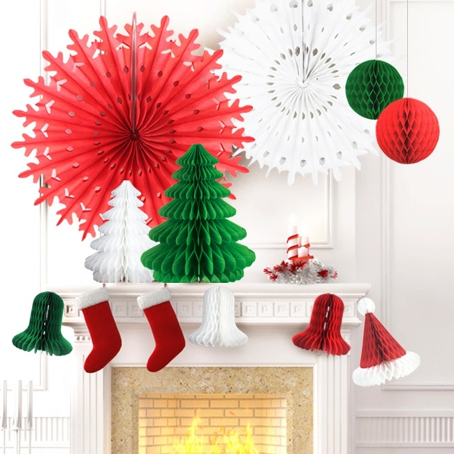 Set of 12 Mix and Match Christmas Decorations Paper Honeycomb Tree, Ball, Bell,Hat & Snowflake ...