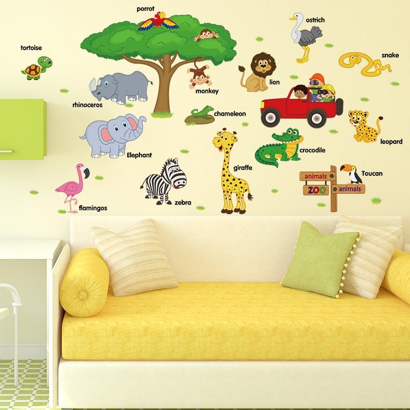 cute cartoon wall stickers zoo nursery school children room