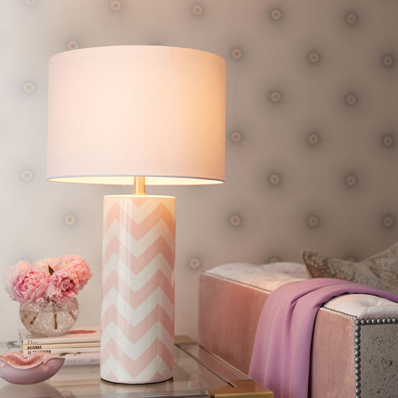Simple Blue Golden Pink Wave Stripes Round Ceramic Table Lamp Art Soft Loading For Bedside Living Room In Led Lamps From