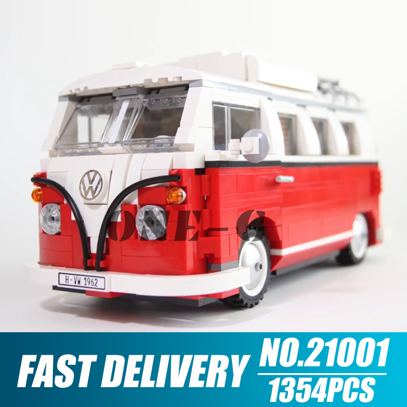Building blocks 21001 Compatible the Creative 10220 Bricks Volkswagen T1 Camper Van Educational toys for children