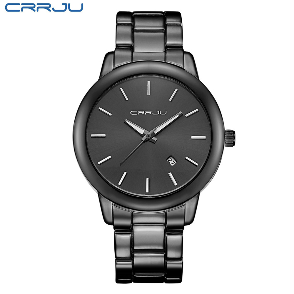 CRRJU Steel Men Watch Black Calendar Quartz Watches Mens New Fashion Sport Alloy Wristwatch Casual Relojes 2016 Hot Sale Watched fashion black full steel men casual quartz watch men clock male military wristwatch gift relojes hombre crrju brand women watch