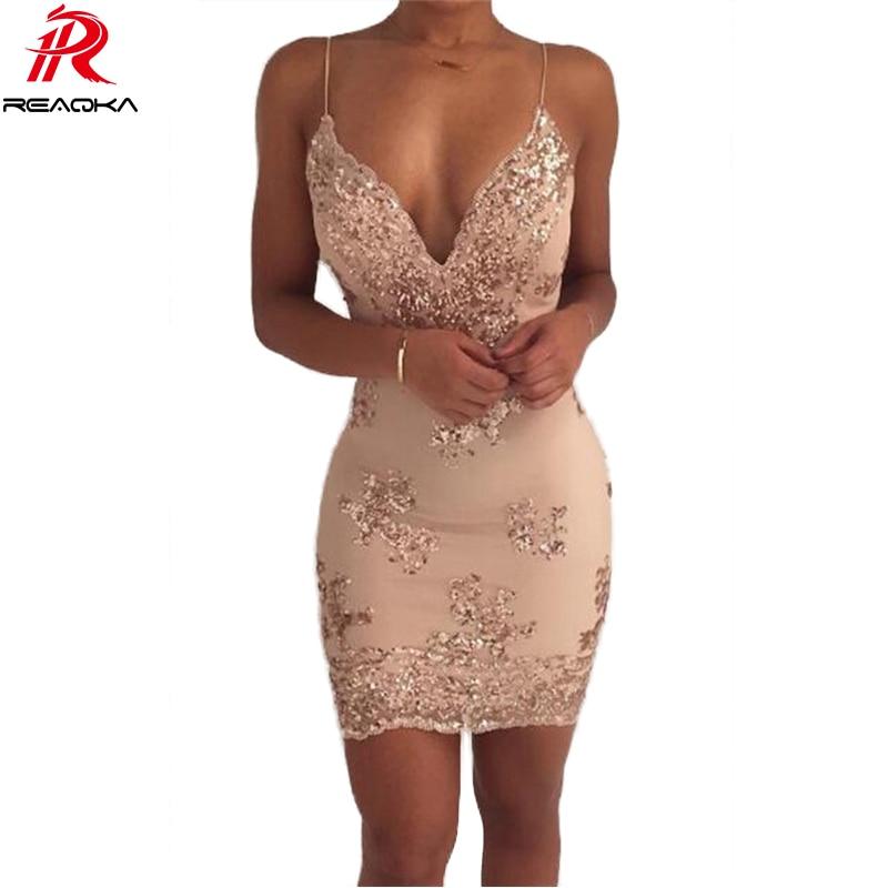 Donna Oro Nero Sequins Del Vestito 2018 Nuovo Sexy V-Neck Backless Donne Vestito Estivo di Lusso Del Partito Club Wear Mini Vestito di Lustrini Abiti