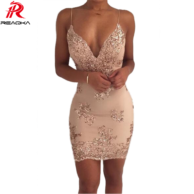 Fashion Sexy Sequin Summer Dress Women vestidos 2018 Gold Black V neck Backless Womens Luxury Nightclub Party Dresses clothes HL