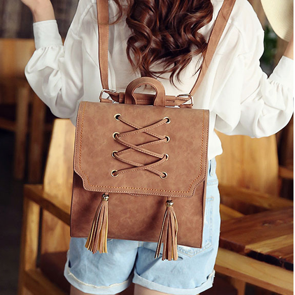 European And American Style Vintage Weaving Backpack Wemen PU Korean Style Fashion Popular Tassel Backpack Preppy