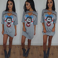 2017 Summer Fashion Women Print Safety Pin T Shirt Dresses Skull Rock Chic Tshirt Sexy Club Half-sleeve Tops Mini Dress Vestidos