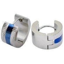 7 мм * 9 мм индийский зажим серьги синий pvd нержавеющая сталь дизайн мужская ювелирные изделия серьги