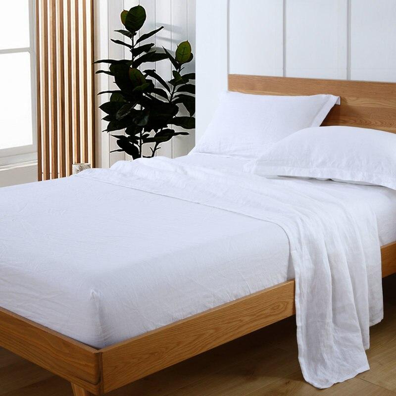 100 Pure Linen Sheet Set Flat Ed Pillowcase 4 Pcs Bed