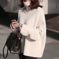2017 New Autumn Winter Sweater Solid Color Casual Wild Loose Thickened Turtleneck Sweater Knitted Female Sweaters