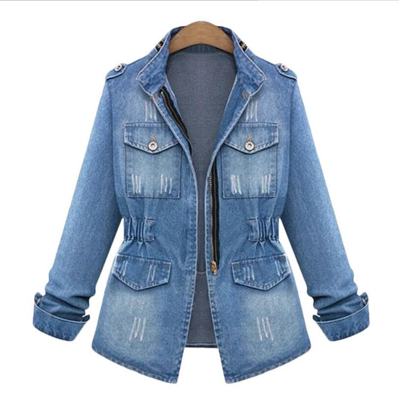 2016 New Autumn Women Slim Washed Denim Long-sleeved Jacket S-5XL Plus SIze Slim Was Thin Stand Collar Holes Denim Coats BF356