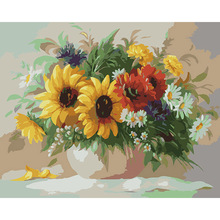 Frameless Chrysanthemum DIY Oil Painting Pictures By Numbers On Canvas Wall Art For Living Room Home Decoration