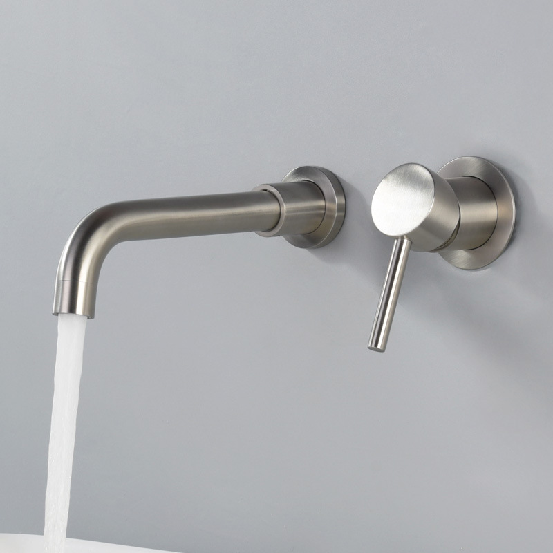 Wall Mounted Solid 304 Stainless Steel Faucet Hot Cold Mixer Taps Basin Faucet 360 degree rotation Concealed faucet With BoxWall Mounted Solid 304 Stainless Steel Faucet Hot Cold Mixer Taps Basin Faucet 360 degree rotation Concealed faucet With Box