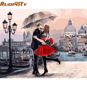 Cadre romantique baiser amoureux peinture à la main par numéros paysage peinture à l'huile moderne mur Art photo pour décoration de mariage