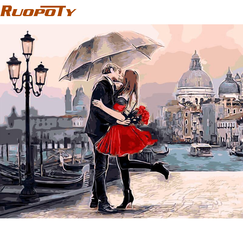 RUOPOTY Frame Romantic Kiss Lover DIY Painting By Numbers Landscape Oil Painting Modern Wall Art Picture For Wedding Decoration