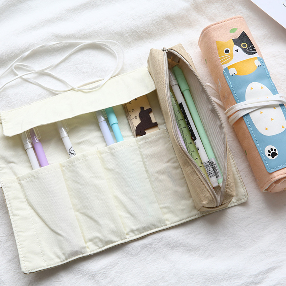 ZT Pencil Canvas The Pen Curtain Dual Purpose More Function Originality Student Personality Pencil kawaii Bag Stationery WJ-HD19 the pencil