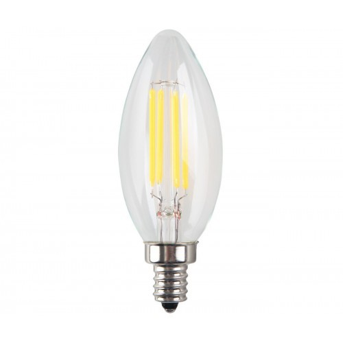 4W LED Filament Candelabra Bulb, 40W Incandescent Replacement, Warm White 2700K, 350 Lumens, E12 Candelabra