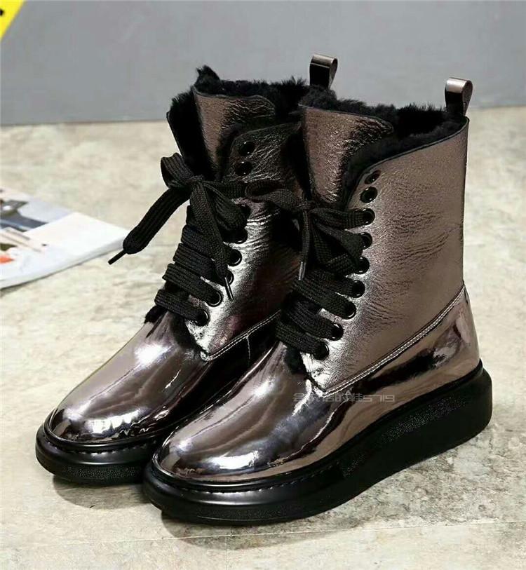De argent Black Laine En Noir blanc marron Peau Hiver Cuir 42 Haute Chaussures Neige Excargo Femme Chaud Luxe Genine Peluche Bottes gun Fourrure 43 Mouton 2018 44 AqwxddS