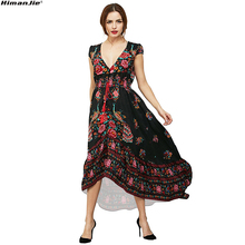 Floral Print Bohemian Women Maxi Dress Deep V Neck elastic waist Flower Vintage Summer beach Dresses