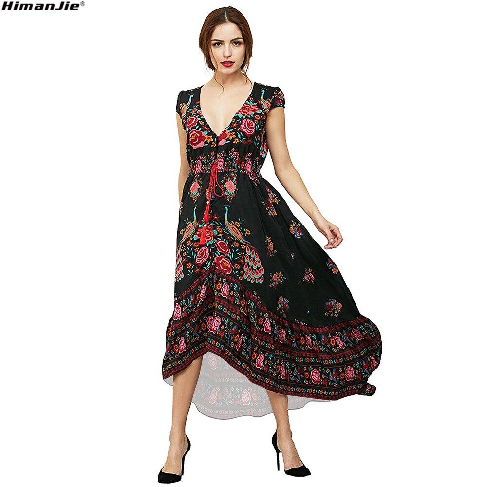 Floral Print Bohemian Women Maxi Dress Deep V Neck elastic waist Flower Vintage Summer beach Dresses Ladies Boho Ethnic Vestido