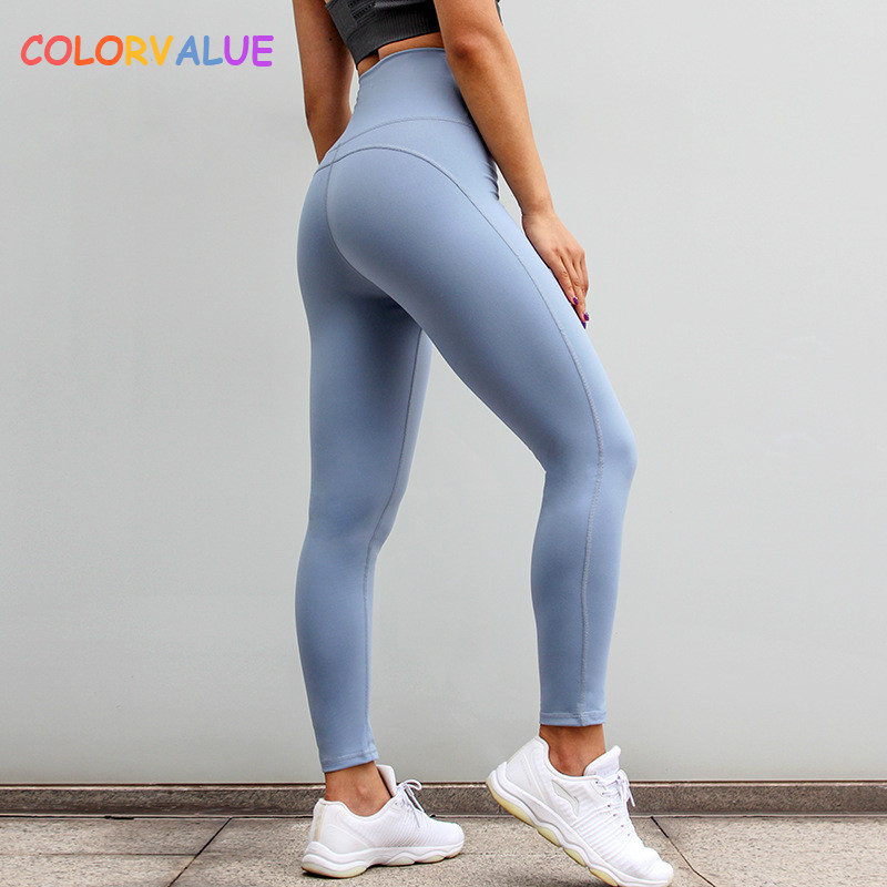 цена на Colorvalue High Waisted Running Sport Leggings Women Plain Push Up Fitness Workout Tights Quick Dry Tummy Control Gym Yoga Pants