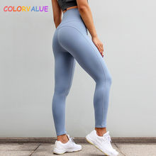 fa3cb65348302 Colorvalue High Waisted Running Sport Leggings Women Plain Push Up Fitness  Workout Tights Quick Dry Tummy Control Gym Yoga Pants
