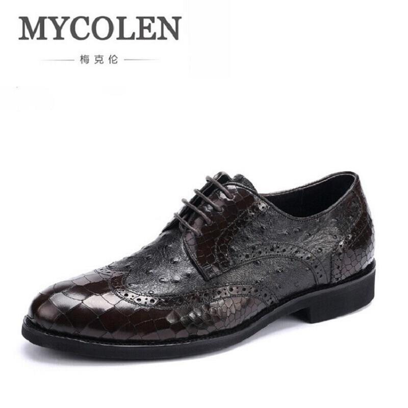 MYCOLEN Men Dress Shoes Genuine Leather Black Italian Fashion Business Oxford Breathable Lace-up Derby Shoes Schuhe Herren
